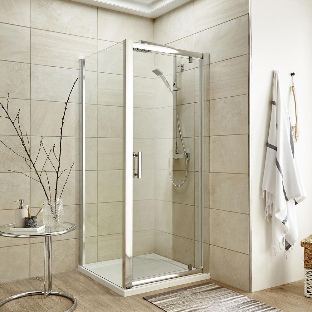 Cabine de douche porte pivotante & receveur 76cm