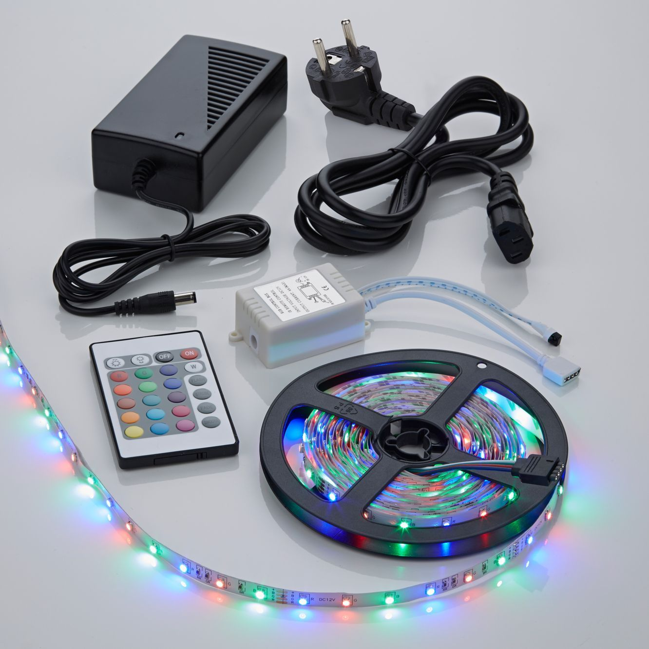 Biard Kit Ruban LED 3528 Blanc & RGB Brillant 5m