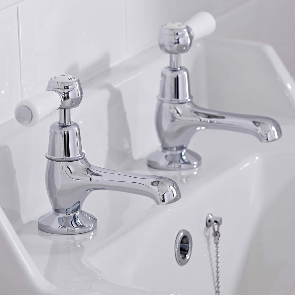 Robinet lavabo Rétro - Blanc & Chrome - Topaz