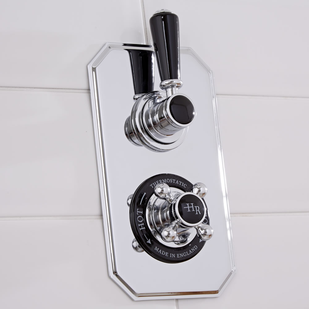 Mitigeur thermostatique douche encastrable Rétro Chrome & Noir