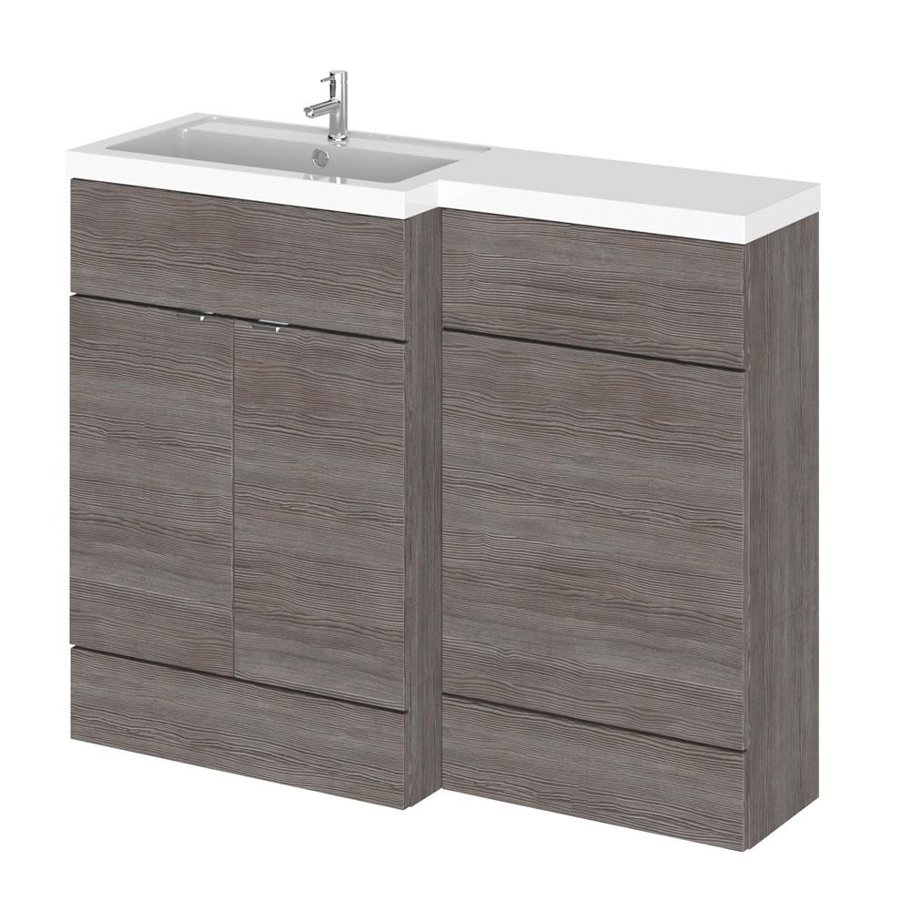 Meuble-lavabo wengé gris brun 110 x 86.4 x 35.5cm Version gauche
