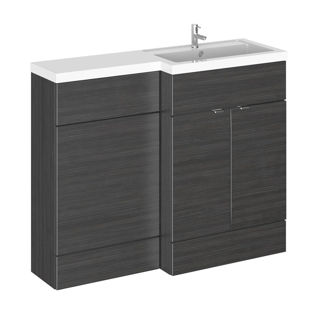 Meuble-lavabo noir wengé 110 x 86.4 x 35.5cm Version droite