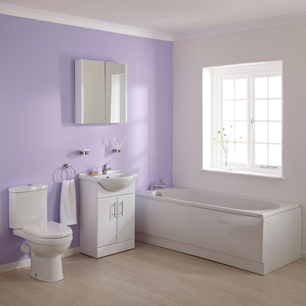 Ensemble baignoire, meuble-lavabo & toilette WC Ivo