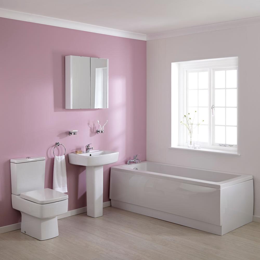 Ensemble baignoire 170cm, lavabo sur colonne & toilette WC Bliss