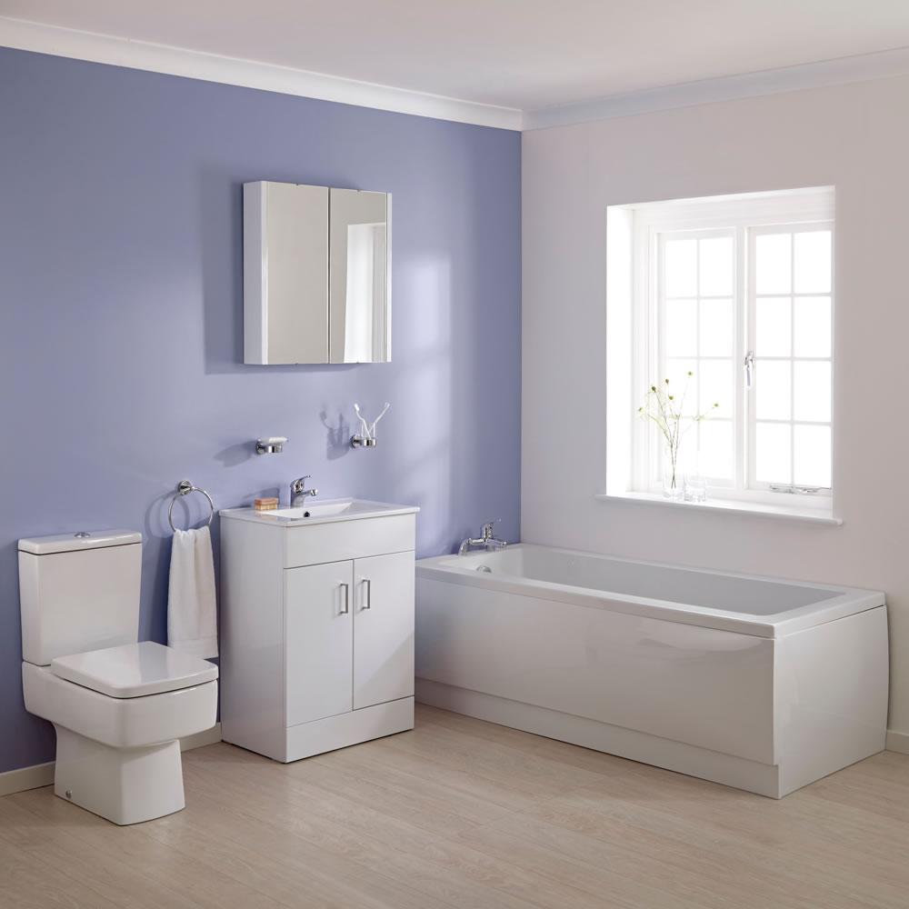 Ensemble baignoire 170x70x38cm meuble-lavabo & toilette WC Bliss