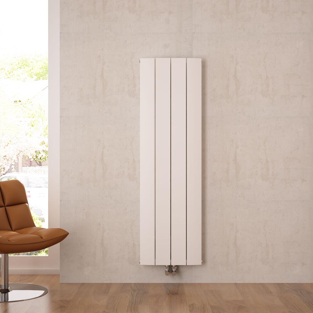 Radiateur Design Vertical Raccordement Central Aluminium Blanc Aurora 160cm x 37,5cm x 4,5cm 1361 Watts