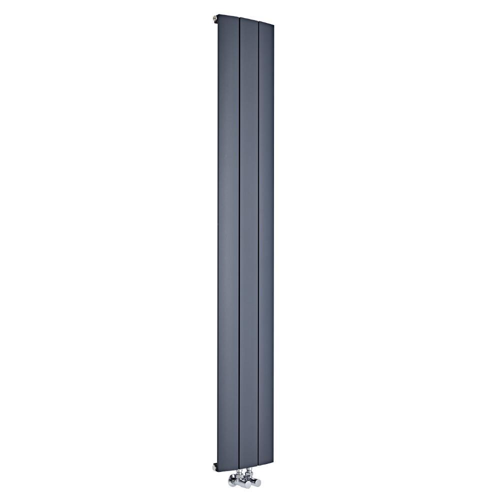 Radiateur Design Vertical Raccordement Central Aluminium Anthracite Aurora 180cm x 28cm x 4,6cm 1152 Watts