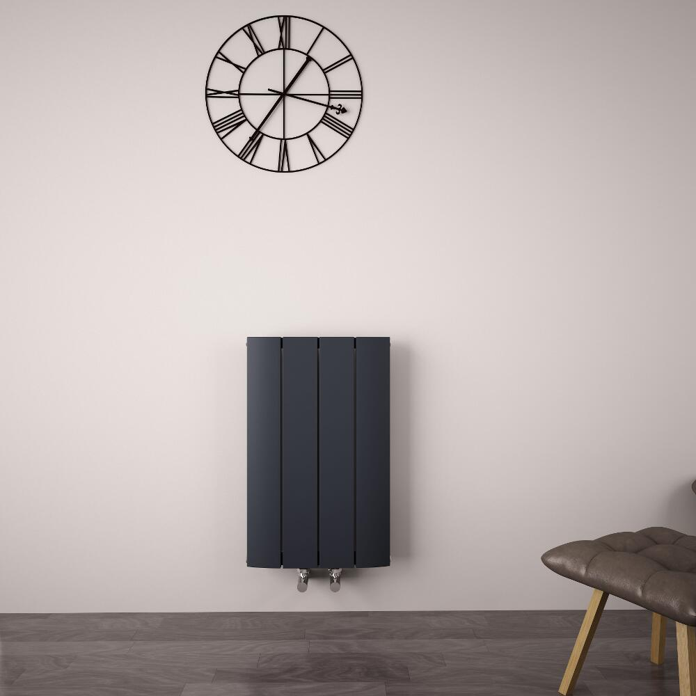 Radiateur Design Horizontal Raccordement Central Aluminium Anthracite Aurora 60cm x 37,5cm x 4,5cm 512 Watts