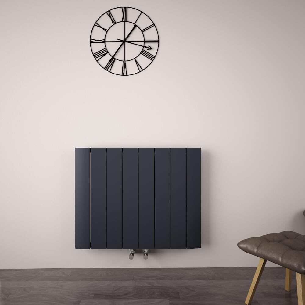 Radiateur Design Horizontal Raccordement Central Aluminium Anthracite Aurora 60cm x 75,5cm x 4,6cm 1024 Watts