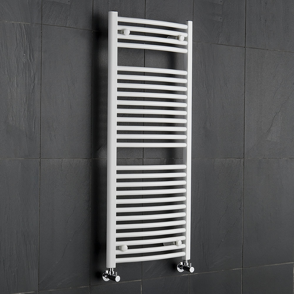 Hudson Reed Sèche-Serviettes Incurvé Blanc Etna 120cm x 50cm x 3cm 699 Watts