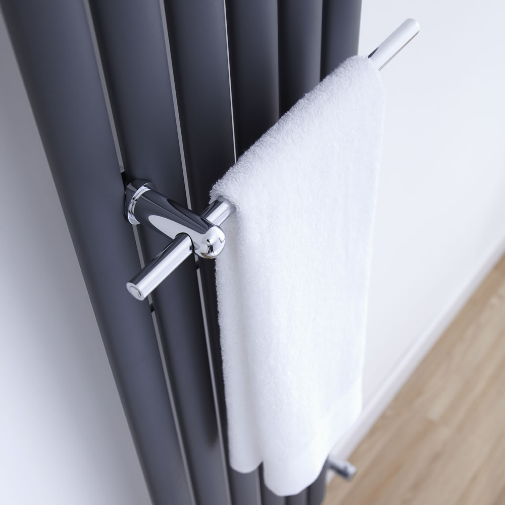barre porte serviettes chrom e pour radiateur vitality