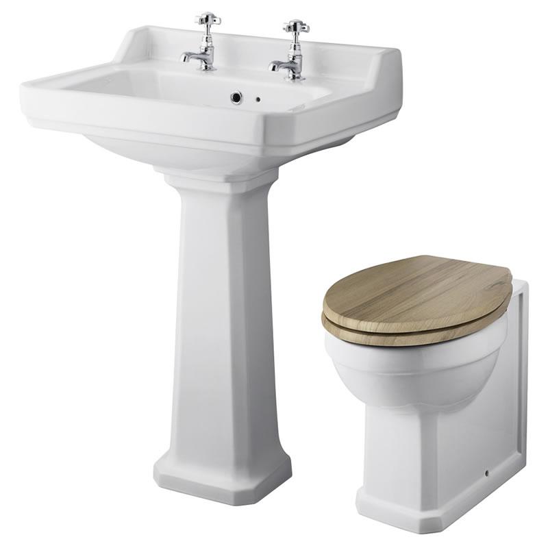 Lavabo 59cm & Cuvette WC Rétro - Choix d'abattant