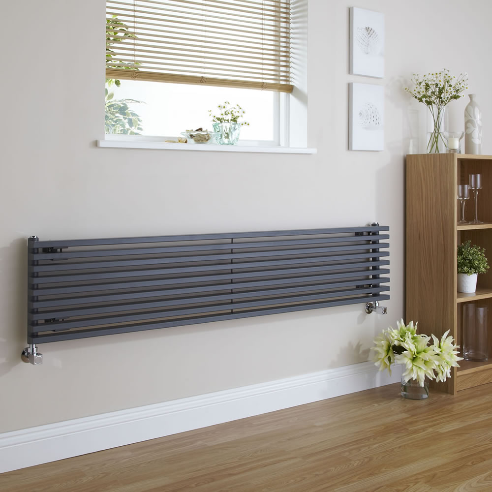 Radiateur Design Horizontal Anthracite Parallel 34,2cm x 160cm x 8,4cm 1117 Watts