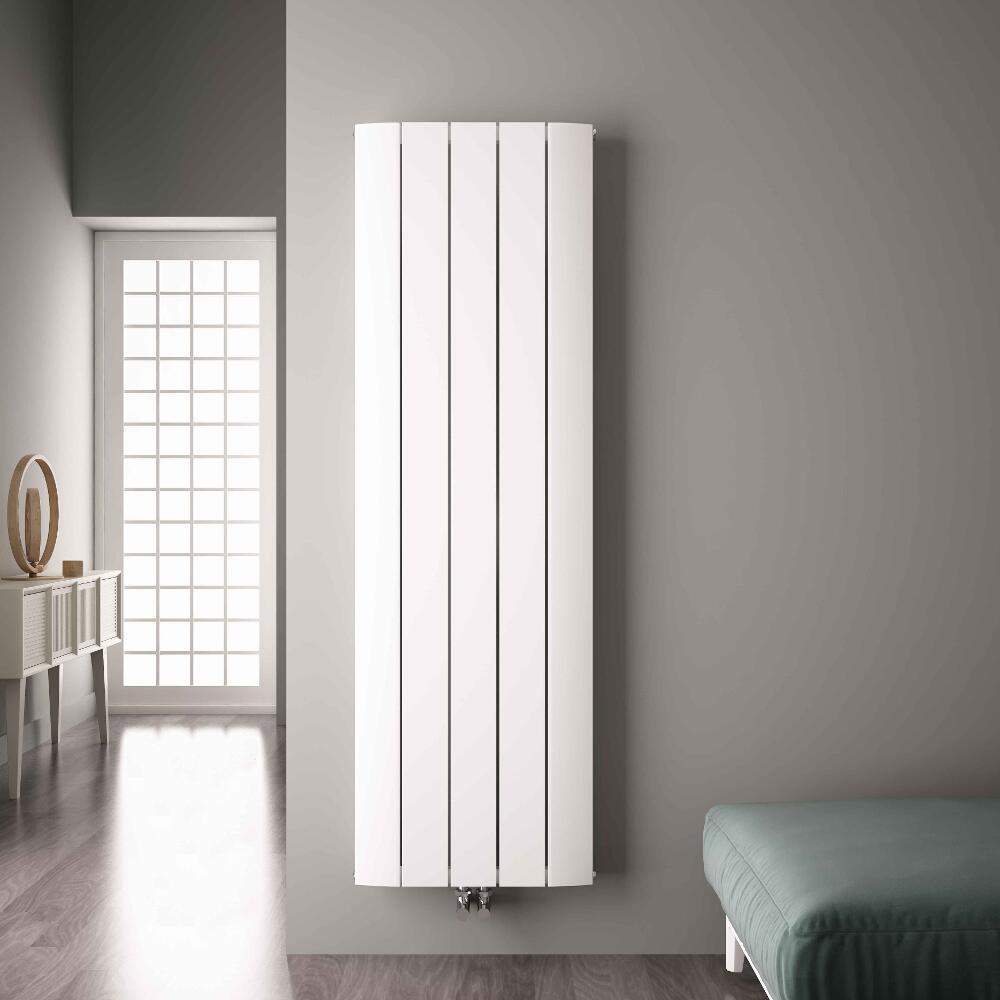 Radiateur Design Vertical Raccordement Central Aluminium Blanc Aurora 180cm x 47cm x 4,5cm 1919 Watts