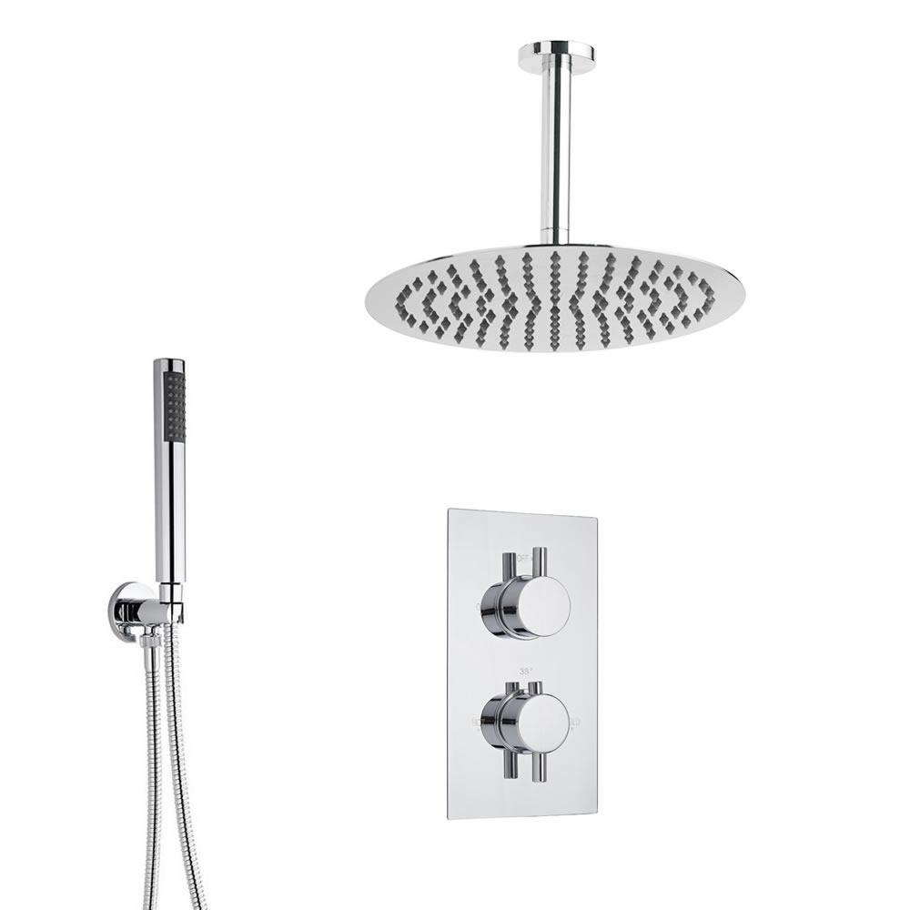 Douche Encastrable Thermostatique Pommeau Ø 30cm & Douchette Design Rond Ecco
