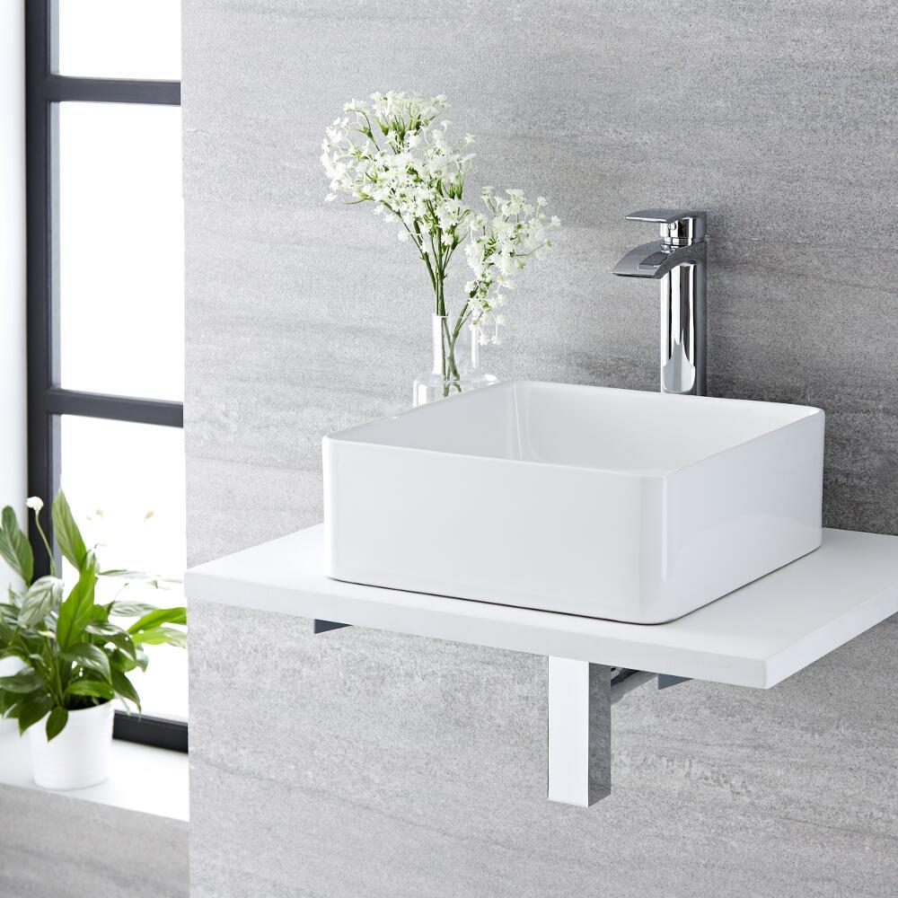 Vasque salle de bain à poser 36 x 36cm Alswear & Mitigeur Haut Razor