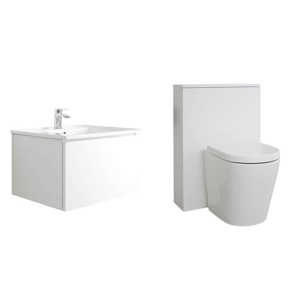 Meuble Lavabo Newington 60cm & Pack WC Blanc Mat