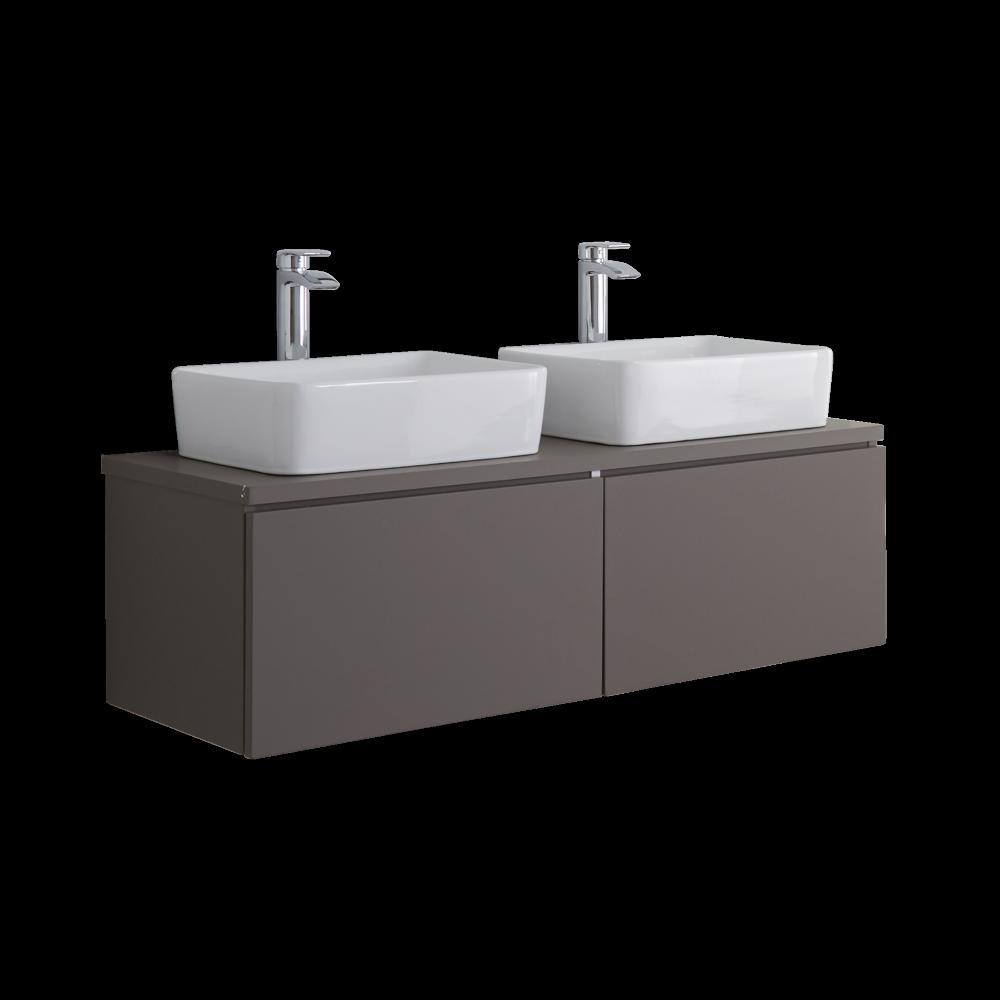 Meuble Double vasque carrée 120cm Newington Gris Mat