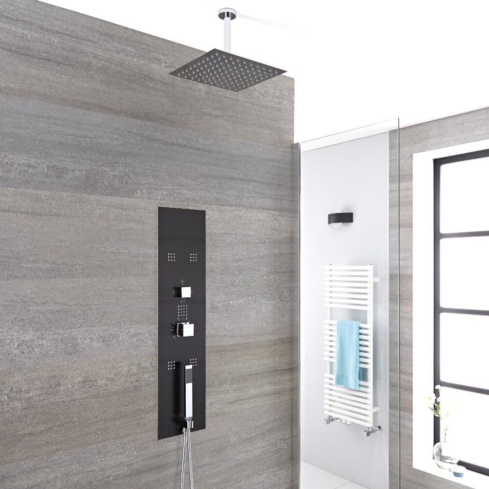 Douche Thermostatique Encastrable 90x22cm - Douchette - 5 Buses & Pommeau plafond 20cm