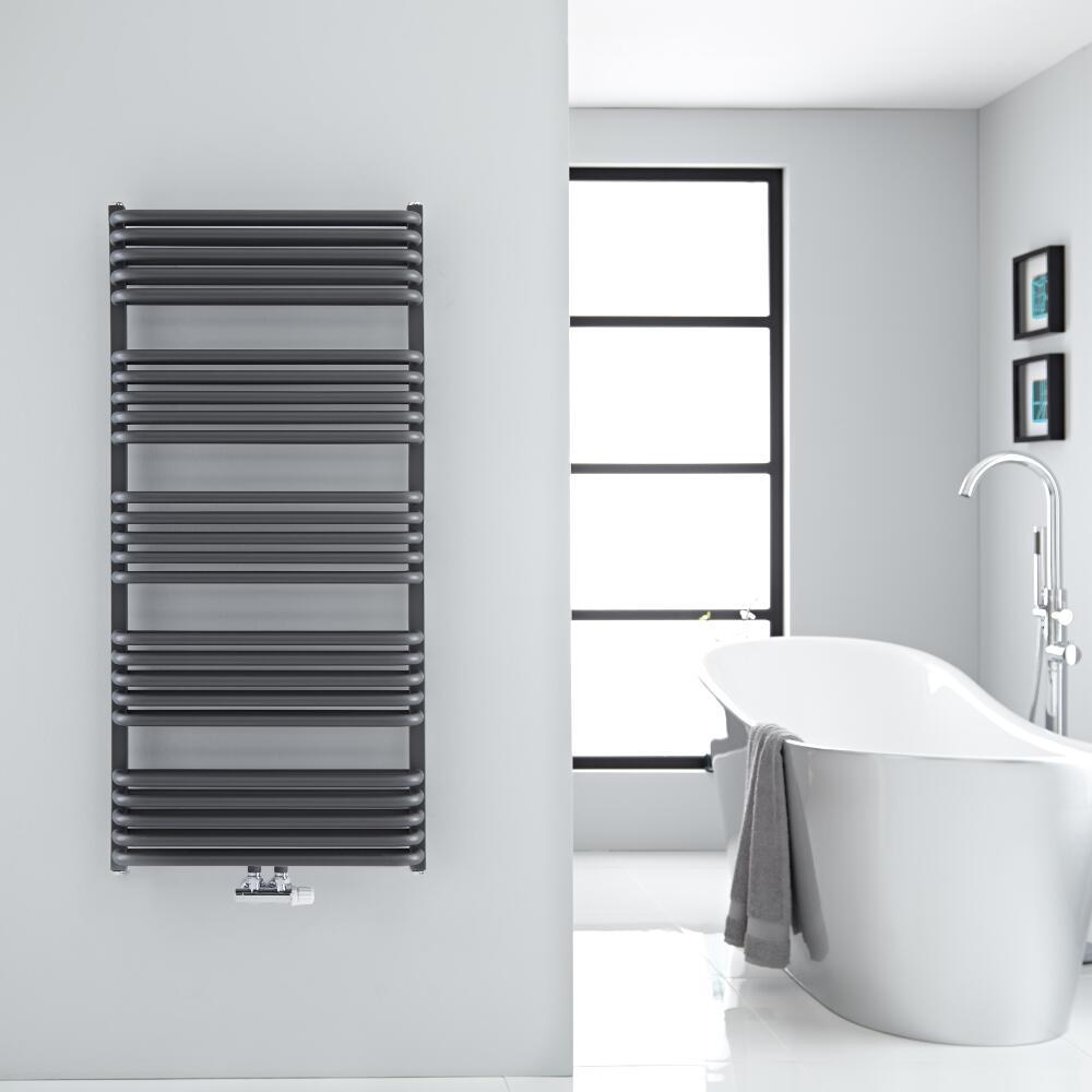 Sèche-serviettes eau chaude Arch anthracite 126.9x60cm 1338 watts