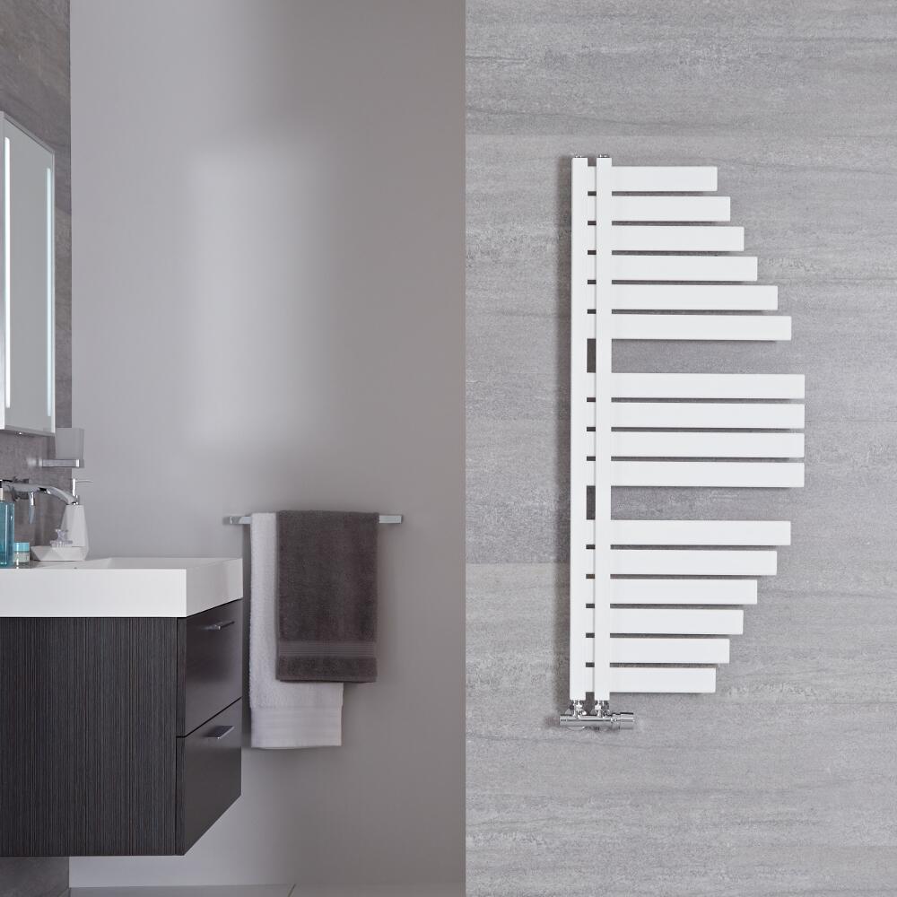 Lazio - Sèche-serviettes Design Blanc Minéral - 110cm x 48.3cm