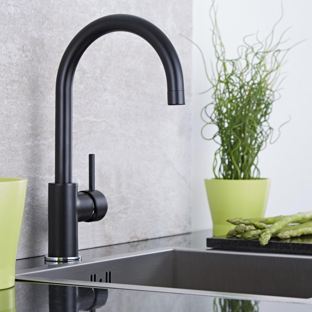 mitigeur cuisine noir col de cygne. Black Bedroom Furniture Sets. Home Design Ideas