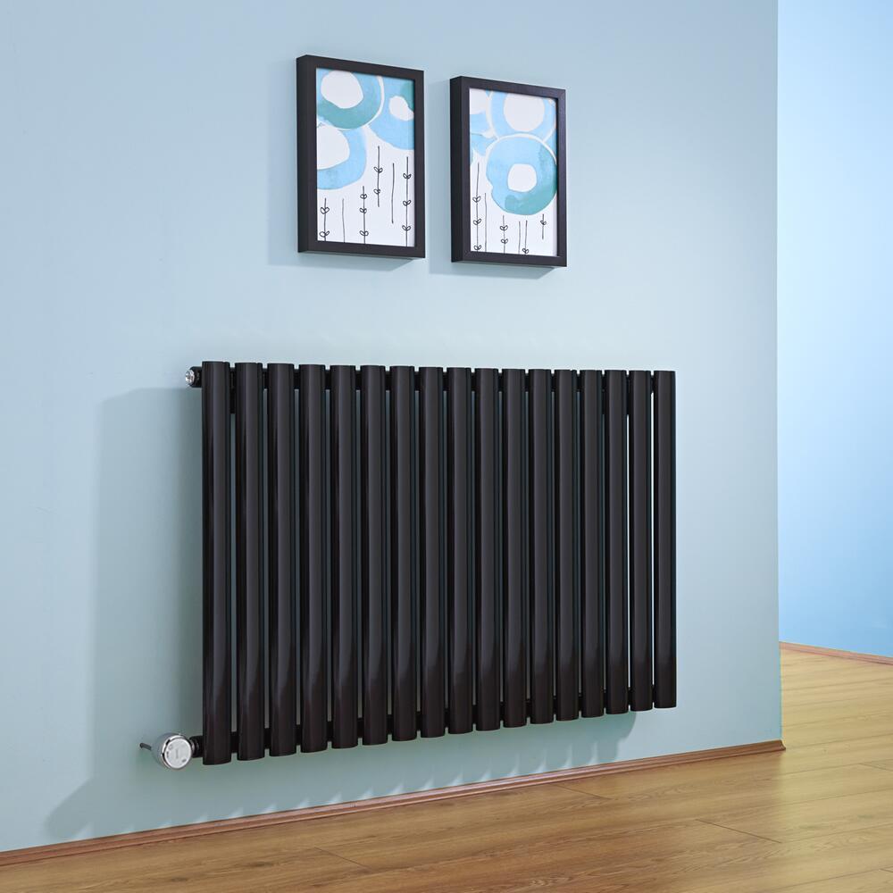 radiateur design lectrique horizontal noir vitality 63 5cm x 100cm x 5 5cm. Black Bedroom Furniture Sets. Home Design Ideas