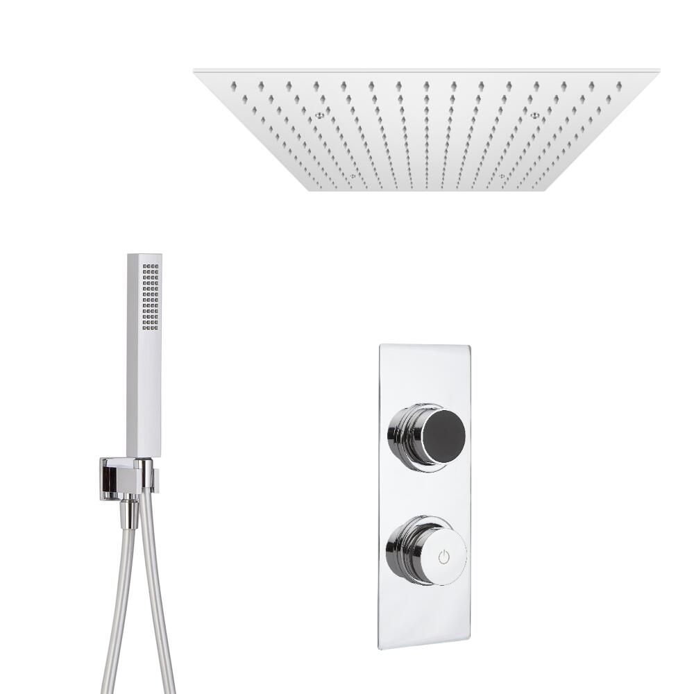 Douche Digitale Thermostatique 2 Fonctions - Pommeau en plafonnier 50x50cm & Douchette
