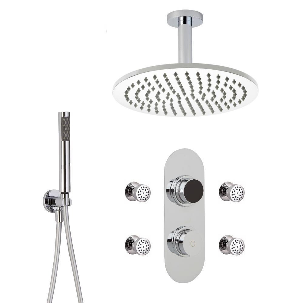 Douche Digitale Thermostatique 3 Fonctions - Pommeau Douche Plafond Ø 30cm sur Bras 15cm - Douchette & 4 Jets Hydromassants
