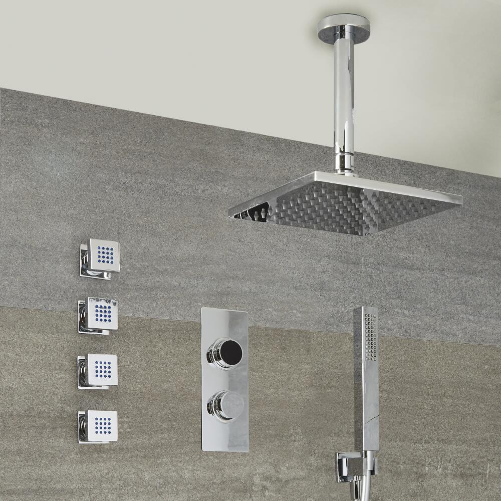 Douche Digitale Thermostatique 3 fonctions - Pommeau Douche Bras au Plafond 40x40cm - Douchette & 4 jets Hydromassants - Narus