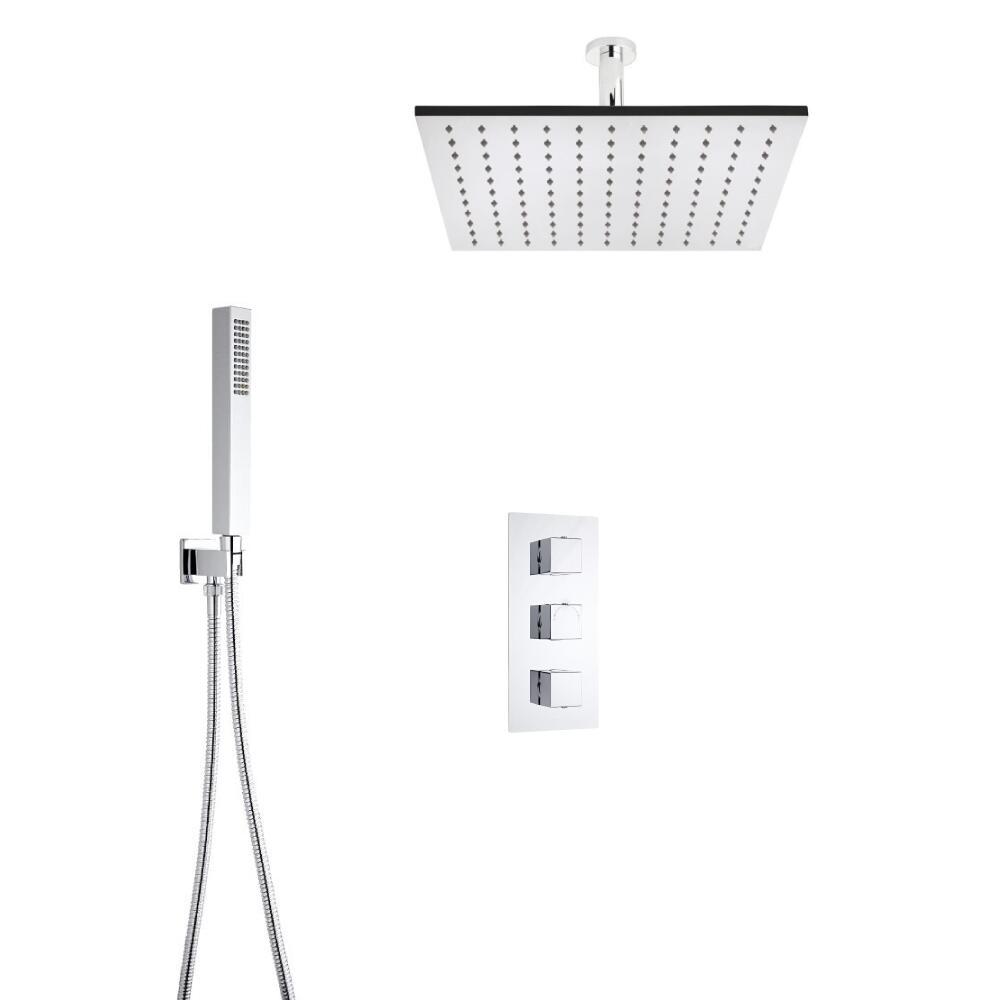 Kit de Douche Thermostatique Encastrable Cubique Pommeau Plafond 40cm & Douchette Fonctions distinctes ou simultanées