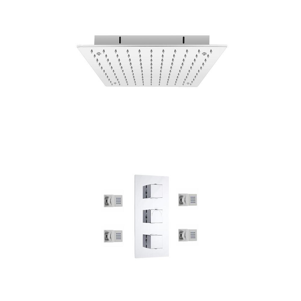 Kit de Douche Thermostatique Encastrable Cubique Pommeau Plafond 40cm & Buses hydromassantes Fonctions distinctes ou simultanées