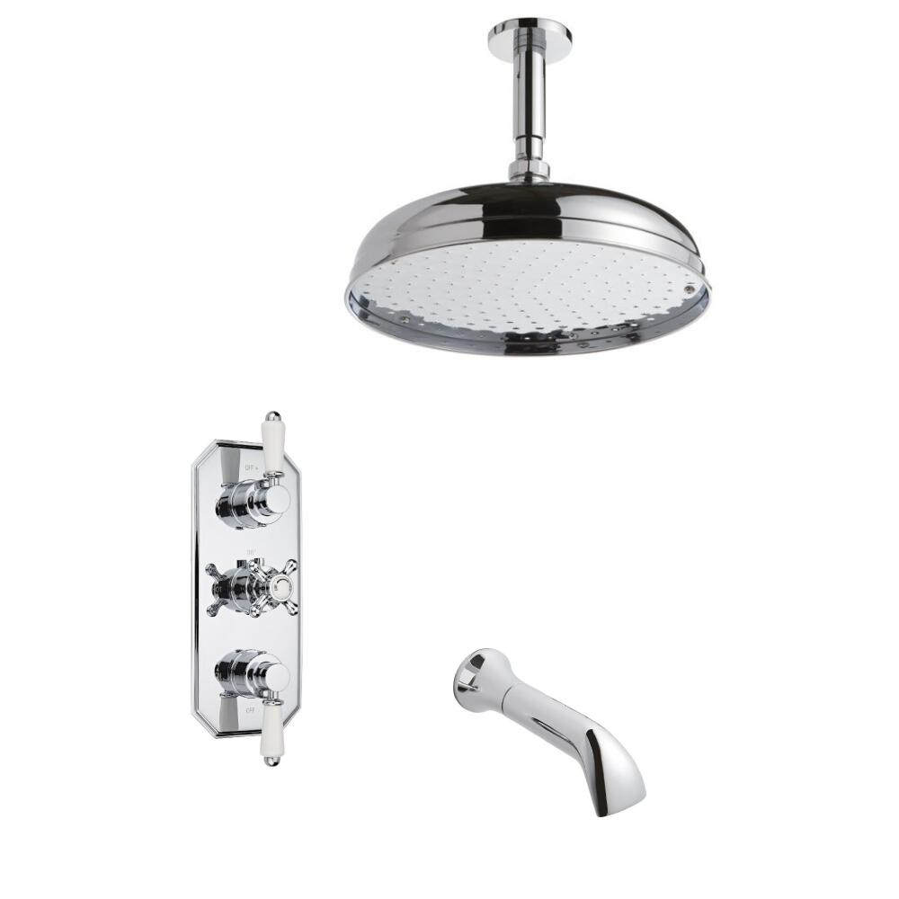 Kit de douche thermostatique encastrable pommeau plafond - Douche encastrable plafond ...