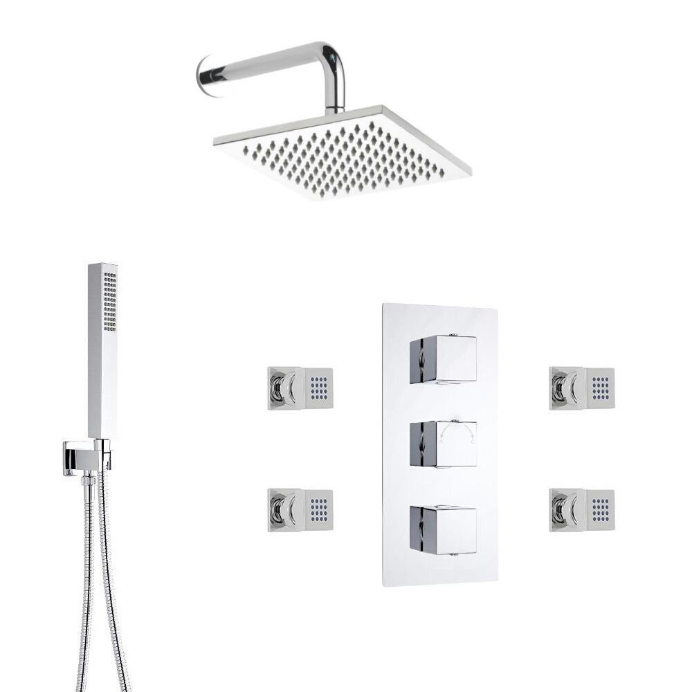 Kit de Douche Thermostatique Encastrable Pommeau 20cm Douchette & 4 Buses