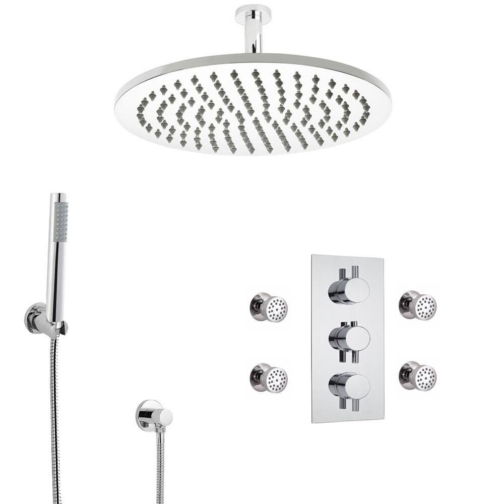 Kit de Douche Thermostatique Encastrable à Pommeau Plafond Ø 30cm Douchette & 4 Buses