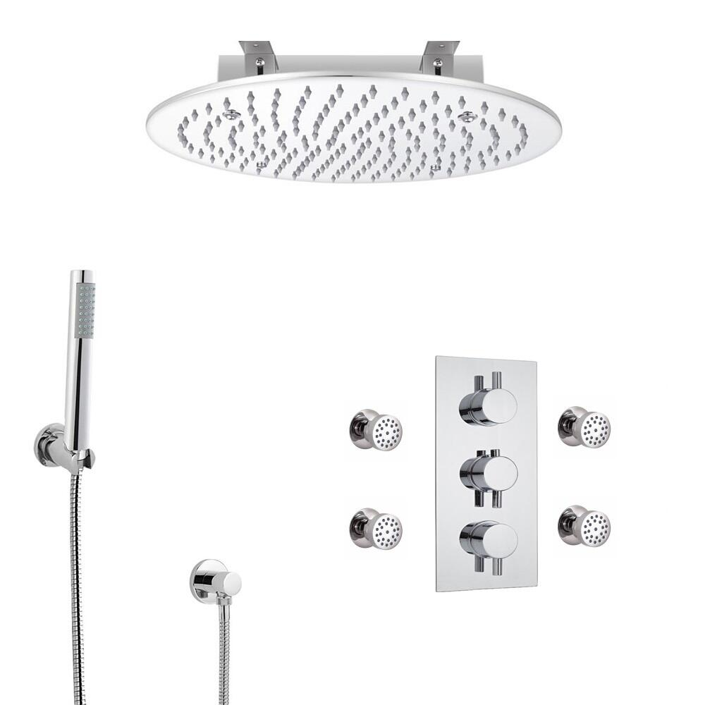 Kit de Douche Thermostatique Encastrable à Pommeau plafond Ø 40cm