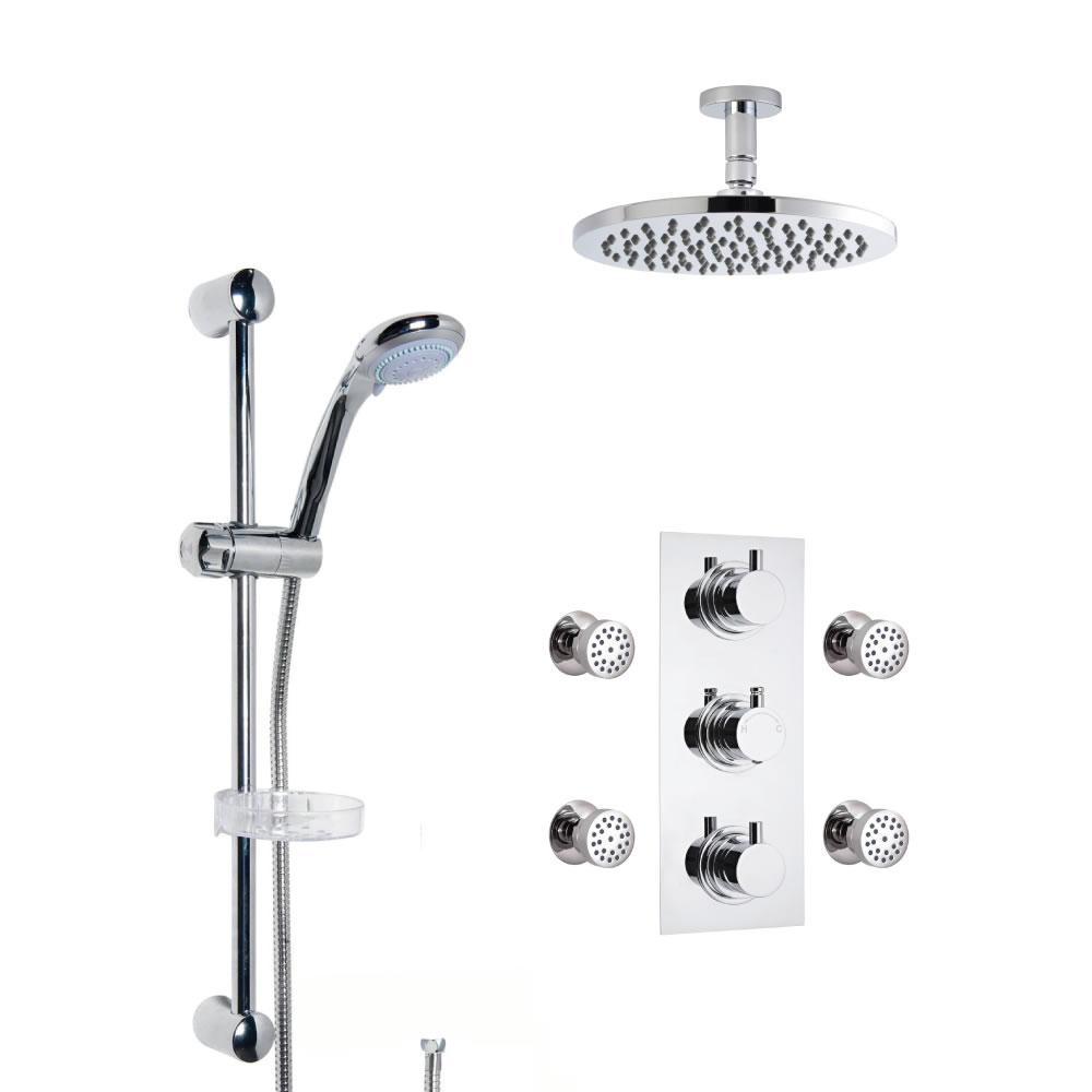 Douche Encastrable Pommeau Plafond Rond 20cm Douchette Porte-savon & 4 Buses hydromassantes