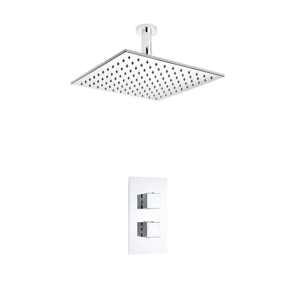 Kit de Douche Thermostatique Encastrable à Pomme Plafond Carrée 30x30cm