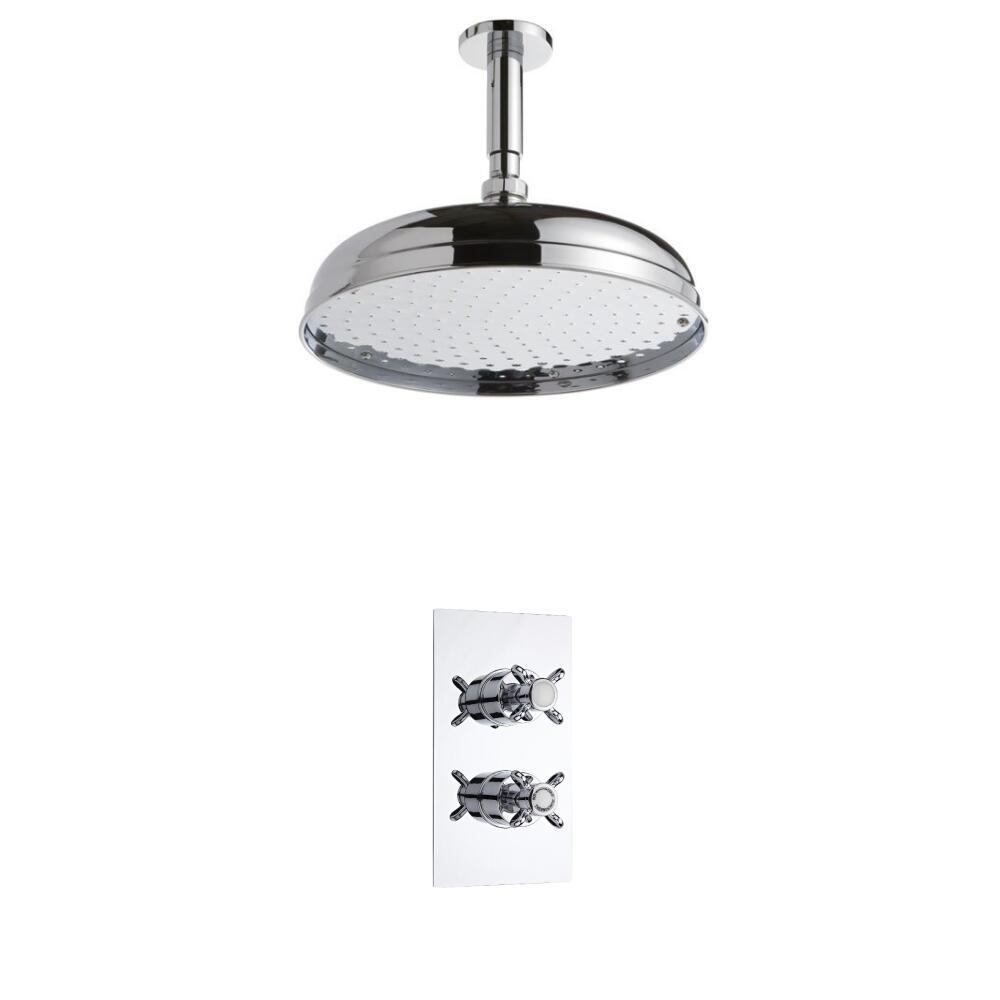 Kit de Douche Thermostatique Encastrable à Pommeau Ø 30cm Design Rétro Minimaliste