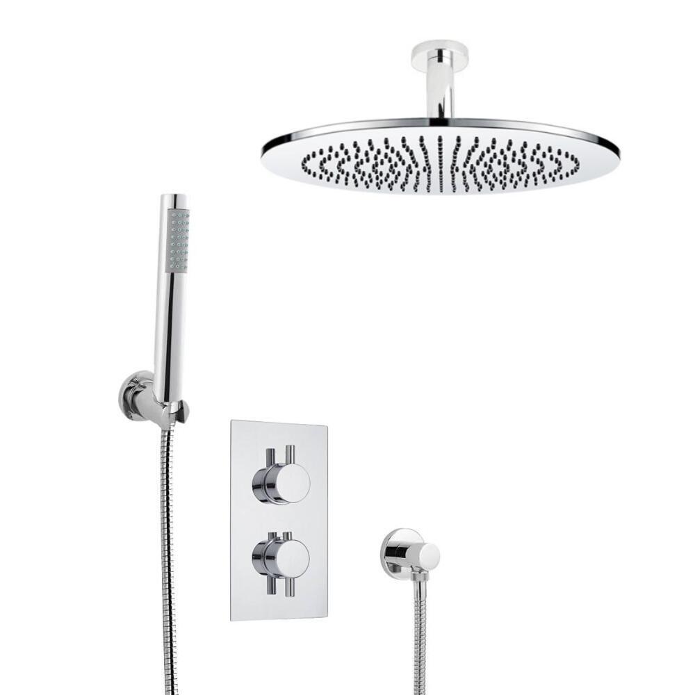 Kit de Douche Thermostatique Encastrable Pommeau Plafond Ø 30cm & Douchette Design Rond