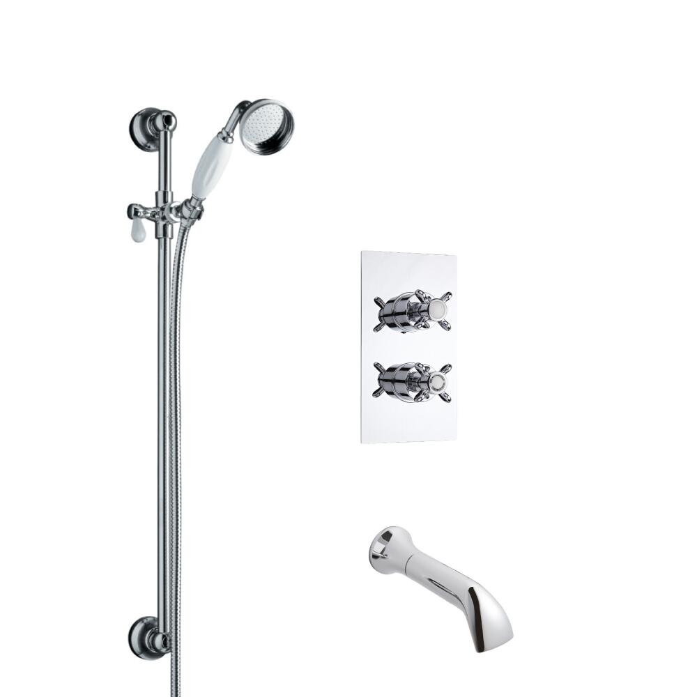 Kit de Douche Thermostatique Encastrable Rétro Douchette Ø 7cm & Bec verseur