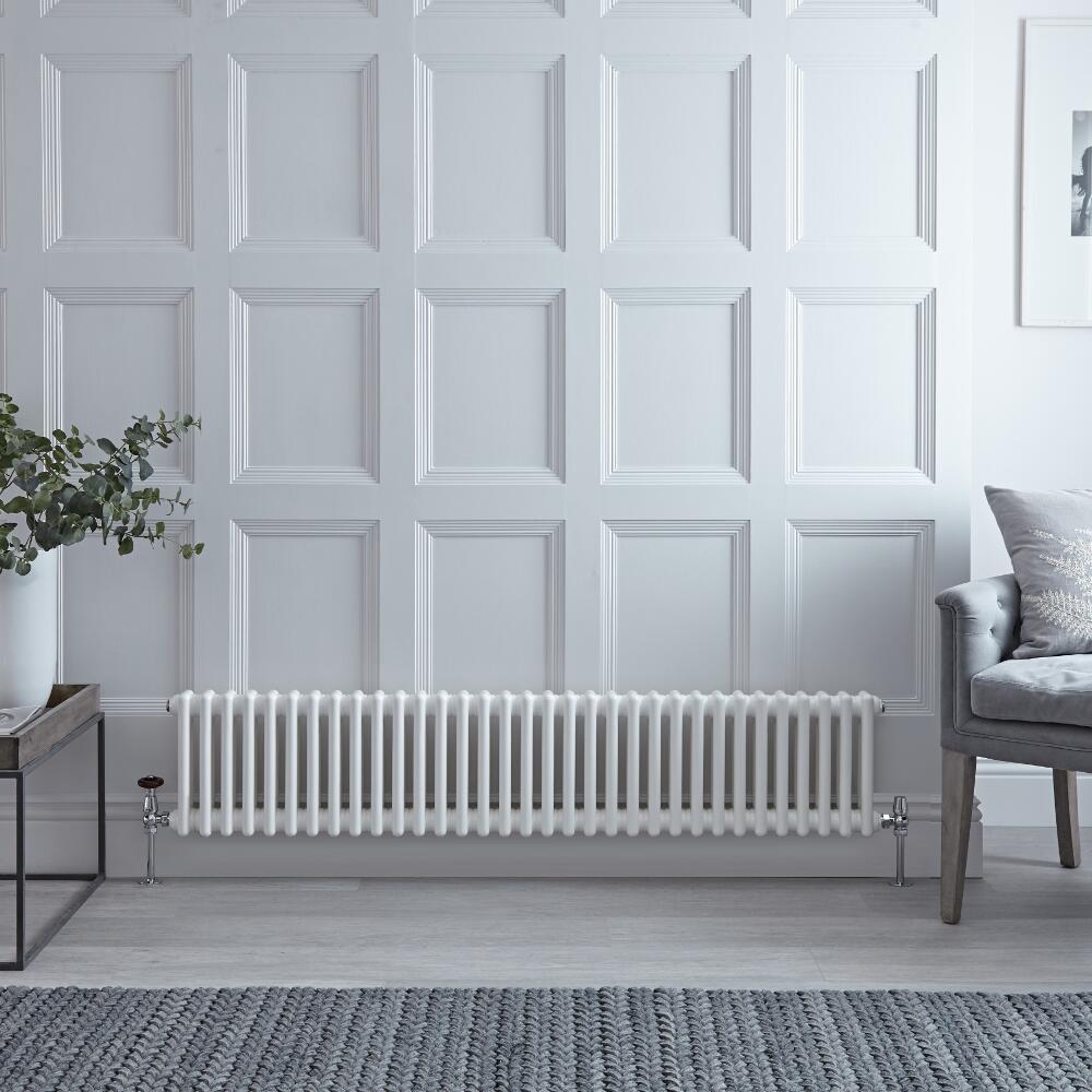 Radiateur Horizontal Style Fonte Blanc Windsor 30cm x 150,8cm x 6,8cm 1050 Watts