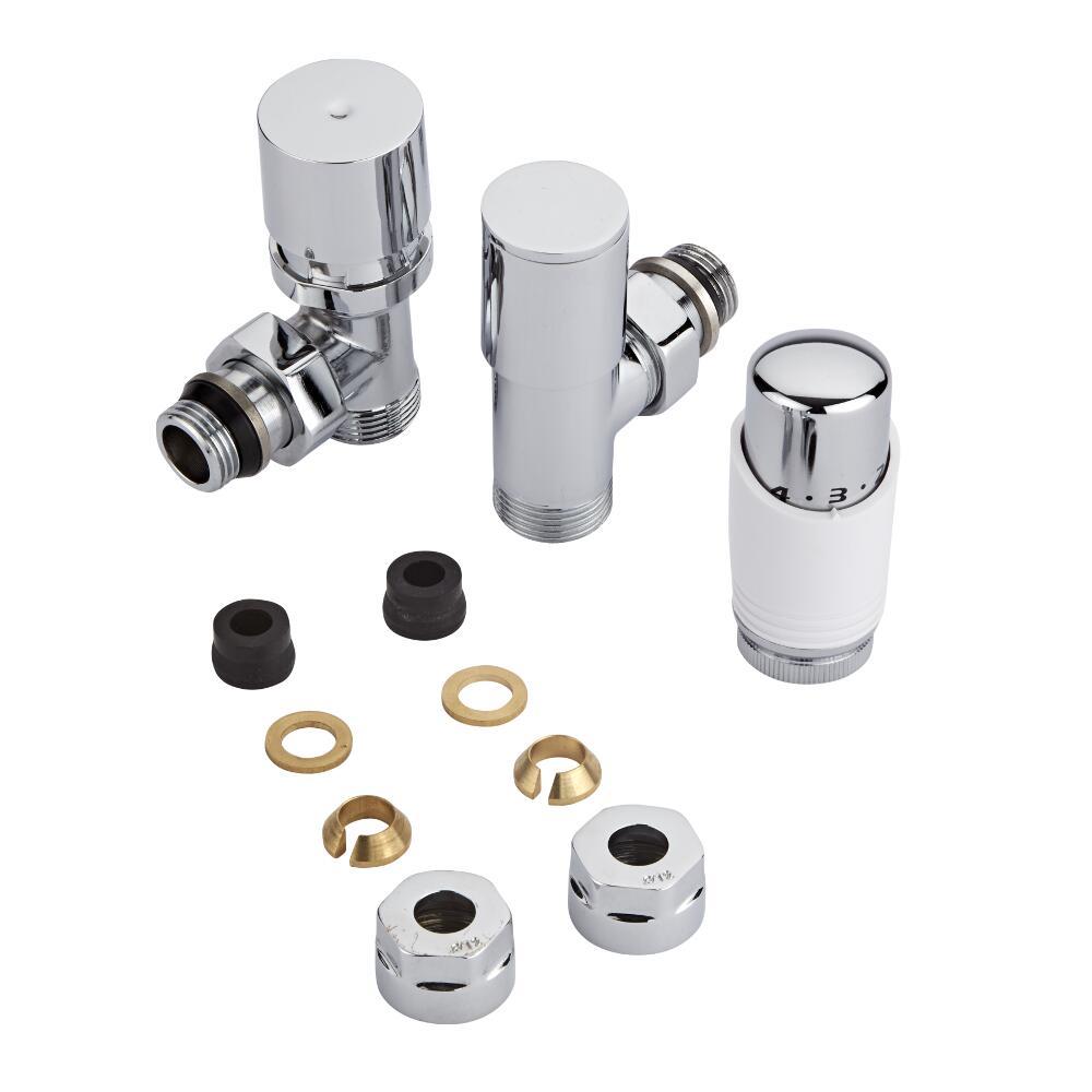 Robinet Radiateur Thermostatique Blanc & Chrome 3/4'' Mâle & Adaptateurs cuivre 12mm