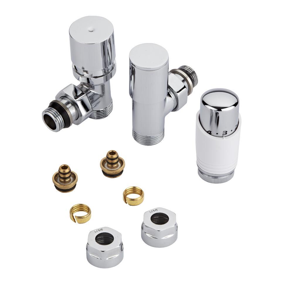 Robinet Radiateur Thermostatique Blanc & Chrome 3/4'' Mâle & Adaptateurs de 14mm