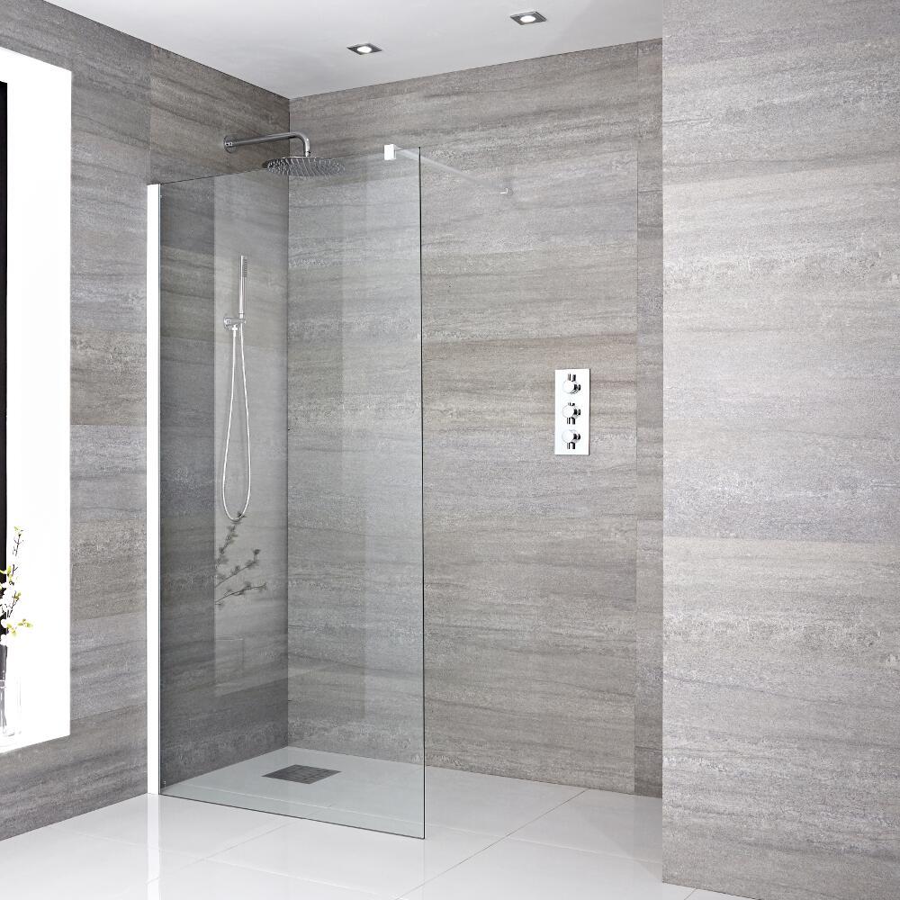 Paroi de douche 120x195cm Profilé blanc & Choix de Caniveau de Douche