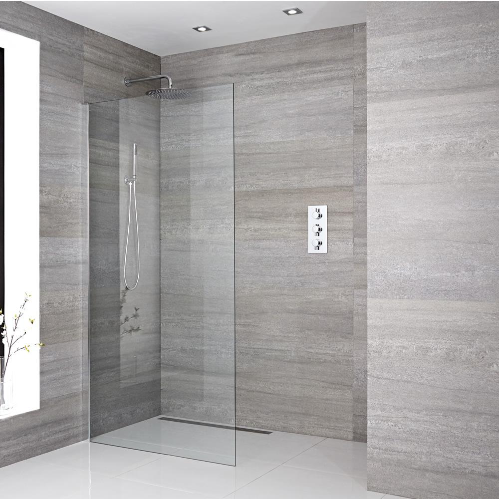 Paroi de douche 120x195cm avec bras stabilisateur recoupable & Choix de Caniveau de Douche Sera
