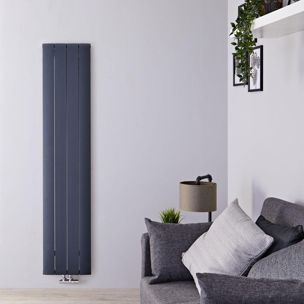 Radiateur Design Vertical Raccordement Central Aluminium Anthracite Aurora 180cm x 37,5cm x 4,6cm 1535 Watts
