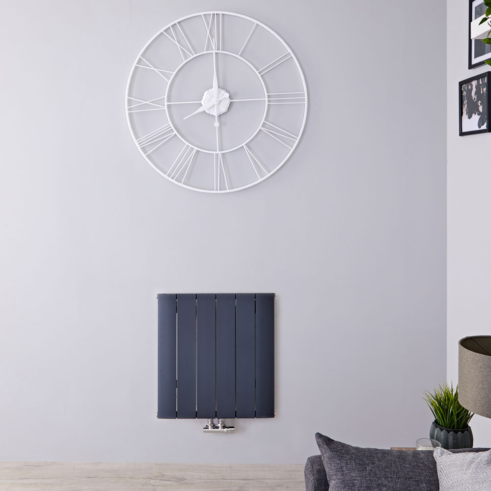 Radiateur Design Horizontal Raccordement Central Aluminium Anthracite Aurora 60cm x 56,5cm x 4,6cm 768 Watts