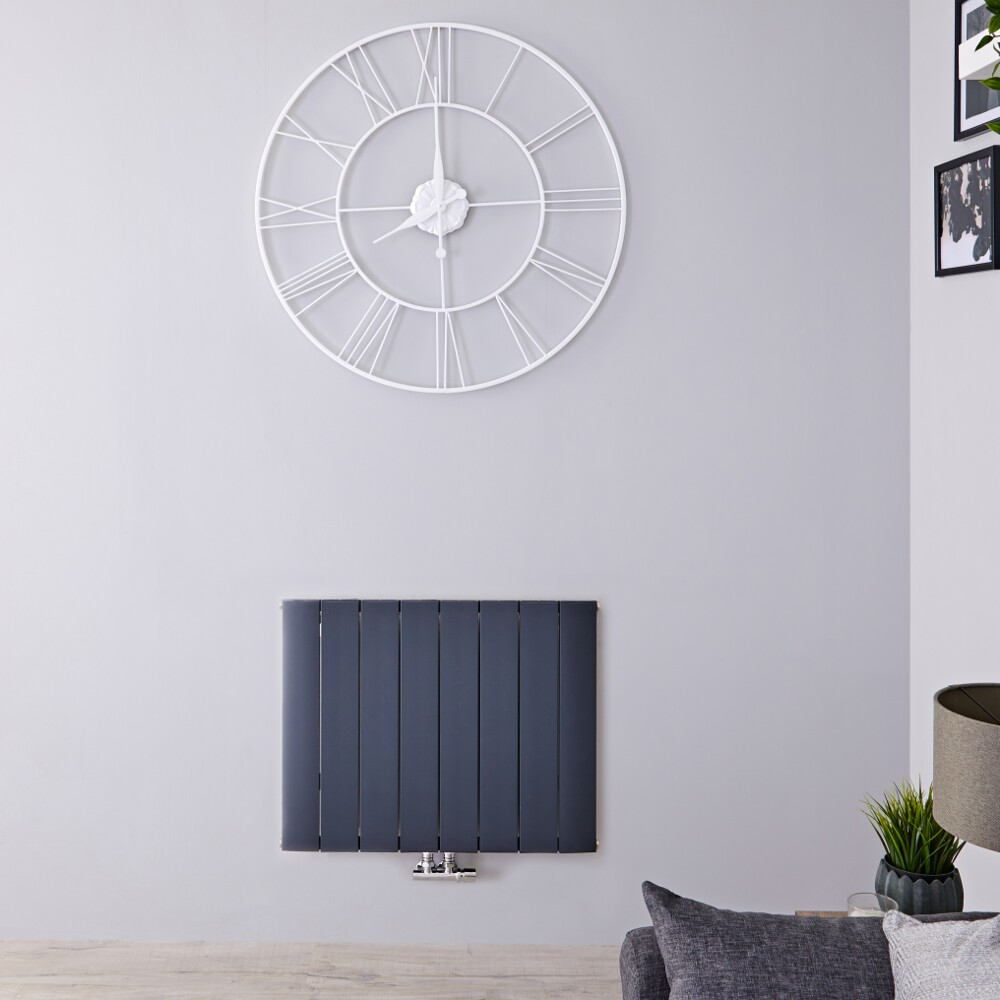 Radiateur Design Horizontal Raccordement Central Aluminium Anthracite Aurora 60cm x 75,5cm x 4,6cm 922 Watts
