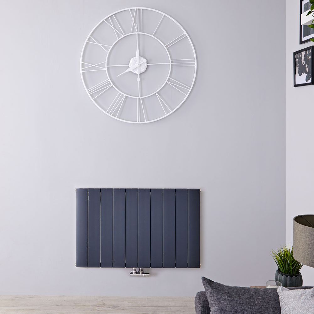Radiateur Design Horizontal Raccordement Central Aluminium Anthracite Aurora 60cm x 94,5cm x 4,6cm 1279 Watts